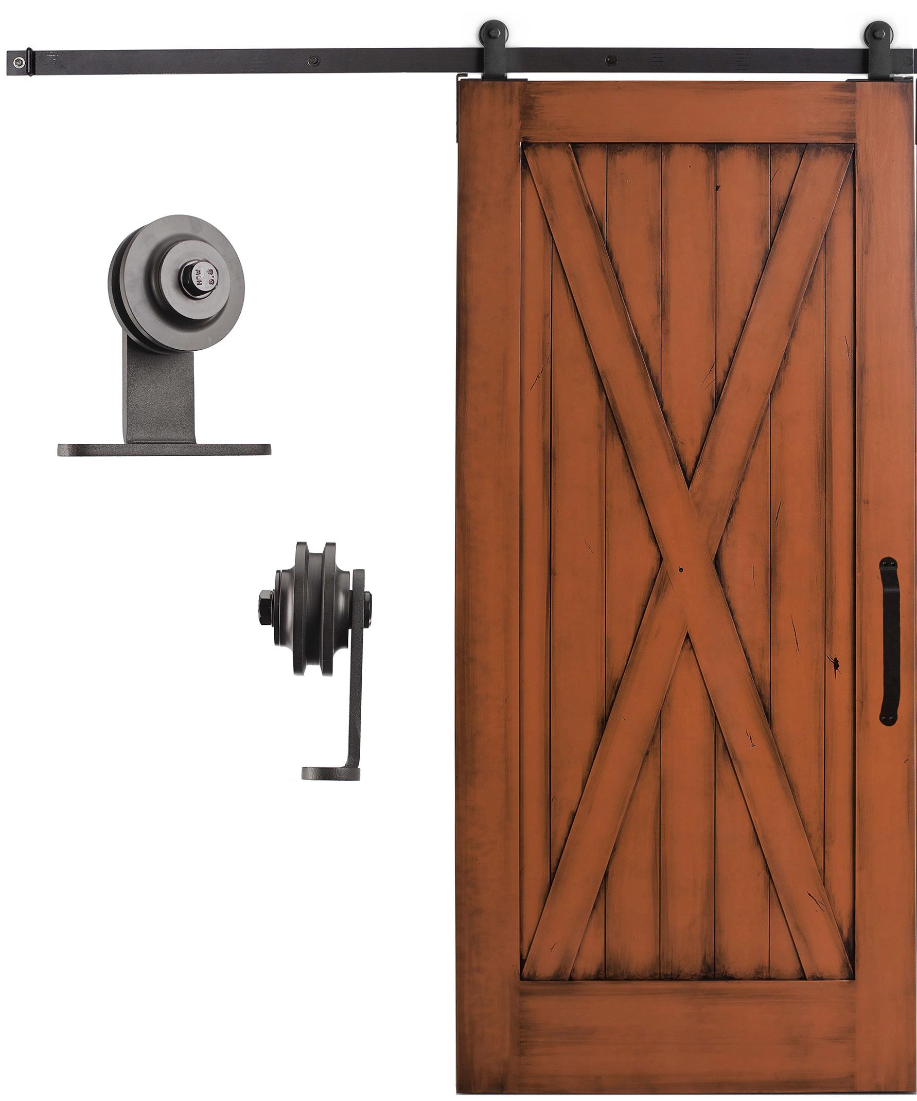 Sliding cabinet barn door hardware kit 6 6 feet steel for Sliding barn door track and rollers